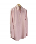 This silk shirt is made of 100% yarn-dye spun silk, which is one of the finest silk fabrics. Classic fit, shape and style. The ultra fine woven texture with non-shining look is especially luxurious and elegant. This shirt looks great under a suit, jacket, blazer, cardigan or with a pair with jeans. Machine or hand wash cold; Press with steam to maintain the best hand-feel. Or dry clean.