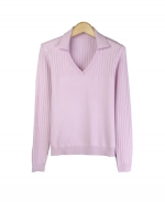 This silk/cotton/lycra johnny collar sweater is perfect for all occasions. The variegated rib design gives you a sophisticated look. This long sleeve sweater is soft and comfortable and is easy to match with jackets and pants. 5 beautiful colors available: Black, Blue, Chocolate, Olive, and Winter White.