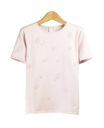 Make this a fun addition to your wardrobe! Our short sleeve sweater is embroidered with terry-textured dots for a fun, yet elegant design.