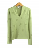 Make this a fun addition to your wardrobe! Our long sleeve sweater is embroidered with terry-textured dots for a fun, yet elegant design. Crafted with a soft blend of silk, cotton, and cashmere, this sweater also flaunts a beautiful v-neck neckline.
