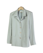 This luxe washable heavy weight 100% silk crepe notch collar jacket blazer with lining has two patch-pockets and has side slits.  A perfect easy blazer, made of a luxurious silk crepe, for early fall and beyond.  Clean sewn hem.  The relaxed shape and mid hip length give a flattering fit. It is a popular style loved by our customers. 
