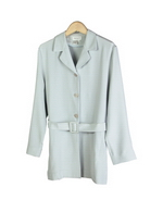 This luxe washable heavy weight 100% silk crepe notch collar long jacket with belt is half lined and has side slits.  A perfect easy and stylish jacket for early fall and beyond.  Clean sewn hem.  A soft shaped and just a little structured look is easy to work with in the fall season. 