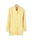 This luxe washable heavy weight 100% silk crepe shirt collar jacket with two patch-pockets is halp lined.  This is a less structured and relaxed soft jacket.  A nice boxy look easy jacket for early fall.  Clean sewn hem.  Good for work, travel and everyday wear.  It drapes beautifully.  