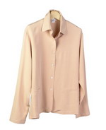 This luxe washable heavy weight 100% silk crepe shirt-collar unlined jacket has two patch-pockets, a perfect easy jacket for early fall and beyond.  Clean sewn hem and cuffs.  It is as comfortable in the office and meetings as it is out for dinner and party.  The relaxed shape and mid hip length give a flattering fit, which is important to our customers.  This unlined jacket matches the tank, trousers and long skirts in this group pictured below as great outfits. 