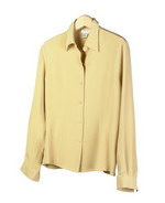This luxe washable heavy weight 100% silk crepe long sleeve men-tailored shirt has finely top-stitche details. A comfortable dress-shirt for fall and beyond.  Great for work and everyday wear.  The heavy crepe shirt with fitted shape gives a sharp look during the cool fall season.  This shirt matches the tank, trousers and long skirts in this group pictured below as great outfits. 