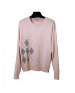 Women's silk cashmere jewel neck long sleeve sweater in fine knit argyle design. An elegant argyle pattern, 85% silk and 15% cashmere, comes in 5 beautiful collors. Clean jewel neck line and finely ribbed trim at bottom and cuffs with classic fit and style. Soft hand-feel and elegant knit work. Dry clean for long lasting best results.  Or handwash cold and lay flat to dry. Then, steam or press the knit sweater with steam to achieve the original luxurious look and the hand-feel. 
