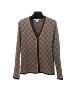 Women's silk cashmere long sleeve V-neck cardigan jacket in diamond jacquard pattern.  This button front cardigan is a classic luxurious style .  It has matching short sleeve shells to make elegant sets. It also has matching solid color skirts and knit pants to give a complete look.