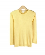 This women 100% silk jewel neck 3/4 sleeve knit sweater is an elegant top made in a delicate baby cable pattern that you'll want to wear all the time. Our flattering and comfortable top is a perfect item for the fall and winter seasons. Available in sizes S(6) to XL(16-18).