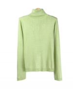 This women's 100% silk turtlneck long sleeve sweater is an elegant pullover made in a delicate baby cable pattern. You'll want to wear our comfortable top all the time. This turtleneck sweater is finely ribbed at its banded bottom and has sleeve cuffs providing a classic look.  Available in sizes XS(4) to XL(16). Dry clean or hand wash cold and lay flat to dry.  Steam to maintain silkiness.