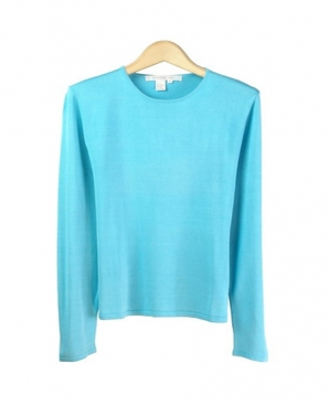 Women's 100% Silk Crew Neck Sweater Long Sleeve. Sizes range from ...