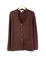 Viscose nylon double full needle knit shawl collar jacket blazer. This knit jacket is flattering and beautifully shaped with stretch from double full needle knit.  Dry clean.  Or handwash color and lay flat to dry.  Steam or press with steam to maintain the great texture of the knit jacket.