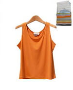 This women 100% silk scoop neck knit jersey tank top w/ satin piping is washable and has a soft touch and dressy look. Its light weight and silky smooth touch provides comfort and a luxurious look. Our sleeveless shell works beautifully with many suits, blazers and jackets. This is one of our customers' most popular tanks. Dry clean or hand wash in cold water and lay flat to dry. Then press with steam to maintain silkiness.