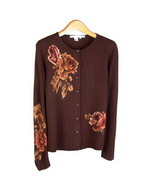 Floral prints on ultra chashmere-soft 100% acrylic fine knit jewel neck long sleeve cardigan.  This cardigan has a matching short sleeve to make a set. Great for all occasions, soft and comfortable. Hand wash or dry clean for best results.