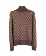 This 100% silk jacquard turtleneck sweater in long sleeve is made in a fine 14 gauge double flat-face knit. It is in a large-fine-line argyle pattern. Our turtleneck sweater is incredibly soft, tightly knitted, and drapes nicely. Dry clean, or hand-wash in cold water and press w/ steam to maintain its silky touch. 