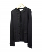 This viscose nylon jewel neck long sleeve cardigan with lace trim is great for everyday wear.  Soft & comfortable and easy to match with jackets and bottoms.  Hand wash to clean, dry clean for best results.