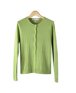 Women's silk/cotton/cashmere cable cardigan jewel neck long sleeve is finely knitted. The long sleeve cardigan is very soft and good weight. It drapes well and never clingy. This cardigan has a short sleeve jewel neck sweater in the same cable pattern and the same color dye lot to match as an elegant sweater set. Sizes from S(6) to Plus Size 1X(16W-18W) are offered for this silk cotton cashmere cardigan.  