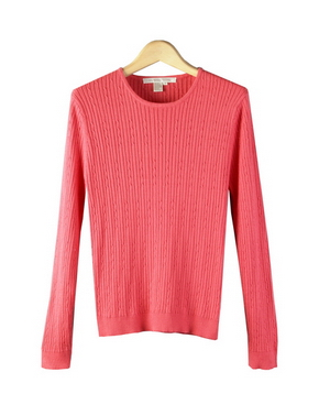 Silk/Cotton/Cashmere Jewel Neck Long Sleeve Sweater in Fine Knit ...