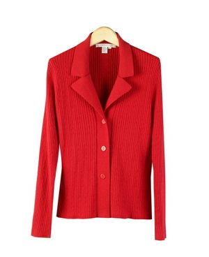 Women's Silk/Cotton/Cashmere Cable Sweater Jacket w/ Notch Collar ...
