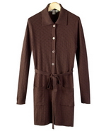 Silk/Cotton/Cashmere fine knit cable pattern knee length coat-jacket with belt design. Picture shown in heather chocolate brown color is a medium cable pattern design long jacket. This cable knit jacket has a matching short sleeve sweater top to match as a jacket set. 
