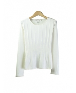 Our silk/cotton/lycra jewel neck long sleeve sweater is made in a reverse-needle knit and has a partial variegated-rib novelty design. Its novelty rib pattern is a unique design that highlights the cardigan's flattering shape and silky touch. Mid-hip length. Available in sizes XS(4) to XL(16). Hand-wash cold and press w/steam, or dry clean to maintain soft texture