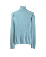 Our silk/cotton/lycra jewel neck long sleeve sweater is made in a reverse-needle knit and has a partial variegated-rib novelty design. Its novelty rib pattern is a unique design. Mid-hip length. Hand-wash cold and press w/steam, or dry clean to maintain soft texture