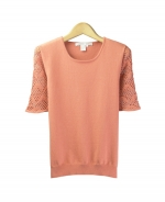 Composition's cotton/cashmere knit jewel neck short sleeve sweeater is a beautiful top that can be worn on all occasions. It has a matching cardigan to make a nice outfit.