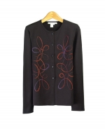 Featuring an elegant crew neck neckline and a beautiful multicolor embellishment, our sweater is the perfect addition to your fall wardrobe. Our unique embellishment creates an eye-catching, yet subtle elegance. Soft and comfortable, this silk/lycra Compositions pullover sweater will keep you cozy and chic on those chilly fall days.