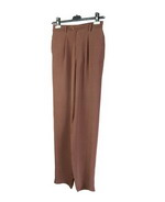 Our washable crepe-de-chine silk trousers have front pleats, a front zipper, and an elastic back waistband for easy-fit and comfort. This pair of pants is softly shaped, light weight and drapes very nicely. They can easily match all the tops in its collection. Machine wash or dry clean.