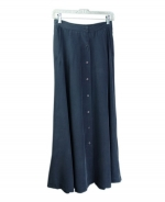 "Washable silk long skirt in button-front style.  Soft look and relaxed fit.  34""-35"" long.  Easy to work with other tops.  Machine washable or dry clean.  Many beautiful colors available for this washable silk long skirt.  