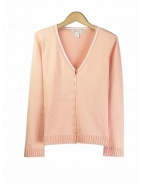 Our ladies' cotton/lycra cardigan has a delicate look and soft touch, which makes it a must have item for the spring and summer seasons. This cardigan works beautifully with jackets and bottoms. Hand wash or dry clean for best results.