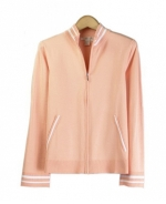 Our ladies' cotton/lycra zipper jacket has a delicate look and soft touch, which makes it a must have item for the spring and summer seasons.  This jacket works beautifully with shells and bottoms. Hand wash or dry clean for best results.