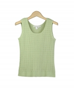 This women's 100% cotton scoop neck tank top is soft and comfortable. This tank top has a beautiful cable pattern, and is perfect for all occasions. Our cotton tank top is an easy-to-match item and a great layering piece. Hand wash or dry clean for best results. 