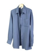 Ladies' 100% washable woven silk gabardine big shirt in relaxed fit and style.  It has a very good hand-feel and has a brushed-color look.  Great draping.  Comfortable from spring, summer to fall seasons. 