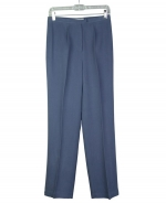 Ladies' 100% washable woven silk gabardine trouser in classic fit and style.  It has a very good hand-feel and has a brushed-color look. Great draping.  Comfortable to wear in the fall season.