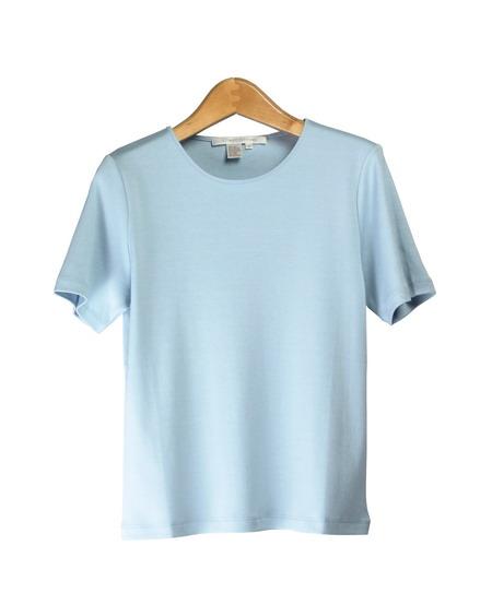 Women 39 s silk cotton crew neck short sleeve knit for Cotton silk tee shirts