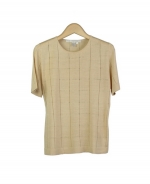 Composition's tussah silk short sleeve sweater is a luxurious top that is feather-weight and slightly embellished with our window pane design. This top is great for all occasions, and can easily match with all jackets and bottoms. Available in plus size 1X (16W). Dry clean for best result.