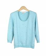 This silk/lycra scoop neck 3/4 sleeve sweater is cute and fashionable with its multi-colored dipping dots embroidery.  This colorful top will soon become your favorite shirt to wear during the spring season. Available in sizes S(6) to Plus Size 1X(16W-18W).  Hand-wash or dry clean for the best results.