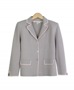 This ladies' viscose nylon notch collar knit jacket is in a stylish jacquard sesame pattern. Our jacket has short sleeve sweaters, sleeveless shells and a knit skirt that can easily match, creating stylish and elegant sets. Dry clean, or hand-wash in cold water and lay flat to dry.