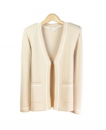 This ladies' viscose nylon open-neck knit jacket is in a stylish jacquard sesame pattern. Our knit jacket has easy-matching short sleeve sweaters, a sleeveless shell, and knit skirt and pants that can create stylish and elegant sets. Dry clean, or hand-wash in cold water and lay flat to dry. 