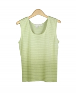 Viscose square neck sleeveless shell in dip-dye with shadow stripes. Great for all occasions. Easy to match with jackets and bottoms. Hand wash or dry clean for best results. 