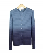 Viscose jewel neck long sleeve cardigan in dip-dye with shadow stripe. Great for all occasions. Easy to match with jackets and bottoms. Dry clean for best result.