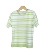 Our ladies' viscose/nylon knit striped jewel neck short sleeve sweater is a classic top that can easily match with our knit jacket (VN611).  This top is available in plus sizes.  Hand wash or dry clean for best results.