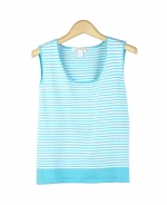 This silk/nylon sleeveless shell is a flattering top with its stripes and tightly knit fabric. Our tank top is great for all occasions and easy to match with all jackets and bottoms. Hand wash or dry clean for best results.
