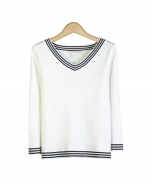 This silk nylon V-neck 3/4 sleeve knit sweater is tightly knit and has a smooth texture that allows good draping and provides great comfort. Easy to match with jackets and bottoms. Hand wash cold or dry clean for the best results.