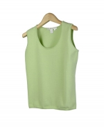 Composition's cotton/lycra scoop neck sleeveless shell is made of high-quality cotton yarn in plain flat knit. This tank top has a wonderfully soft texture and fits easily because of its stretchy material. Our sleeveless shell is a perfect layering piece that is available in a cardigan twin set. You will love this tank top for its soft touch and luxurious look.