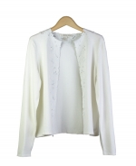 Composition's silk/nylon knit jewel neck long sleeve cardigan is a beautiful top that can be worn on all occasions. With its engraved embroidery, our top is comfortable as well as luxurious. Hand wash in cold water or dry clean for best results. 