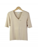 This beautiful silk/nylon v-neck short sleeve knit sweater is engraved with a gorgeous classic embroidery. It is a beautiful top for dressing-up and dressing-down as well. Great for all occasions. Hand wash or dry clean for best results.