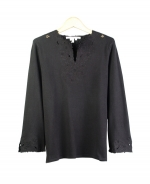 This beautiful silk/nylon split-jewel neck 3/4 sleeve knit sweater is engraved with a gorgeous classic embroidery. It is a beautiful top for dressing-up and dressing-down as well. Great for all occasions. Hand wash or dry clean for best results.