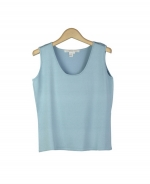 This tussah silk lycra u-neck tank top has a smooth texture and is incredibly comfortable.  Our easy-fit and easy-care top has a matching cardigan that makes a beautiful twin sweater set. Hand-wash or dry clean for the best result. 