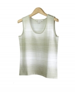Compositions' silk/nylon scoop neck tank top is soft, comfortable, and fun. Our sleeveless shell has a unique stripe design and is available in fresh and rich colors, making this a spring and summer season must-have. This item works nicely as a layering piece, and can be worn with our matching zip jacket or open neck 3/4 sleeve sweater as gorgeous sweater sets. Hand-wash to clean or dry clean for best results. 